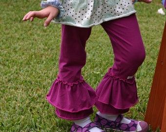 beetroot pink purple knit leggings with double ruffles sizes 12m - 14 girls