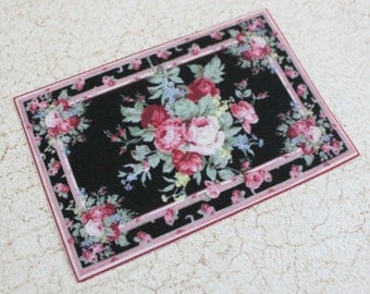Miniature Dollhouse Rug Roses on Black in 1:12 Scale