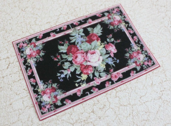 Miniature Dollhouse Rug Roses on Black in One Twelfth Scale