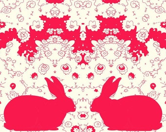 Red Rabbit Collaboration - 11x14 Abstract, Modern, Affordable, Unique, Mirror Reflection, Rabbits, Red, White, Organic, Art Print