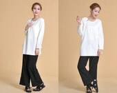 Mandarin Linen Long Blouse with Pleats/ 28 Colors/ Any Size/ RAMIES