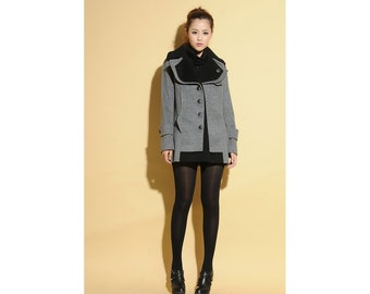 Winter Solstice Double-layer Collar Hip-length Wool Coat /More Color Schemes/ RAMIES