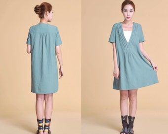 Lovely Deep V Neckline Linen Dress with Ruffles/ 30 Colors/ Any Size/ RAMIES