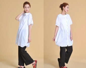 Free Style Stand-up Collar Linen Long Blouse with Special Hems/ 28 Colors/ RAMIES