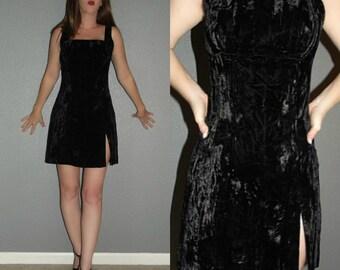 Sexy XS S 4 Vtg 80s 90s Bebe Black Crushed Velvet Bodycon Sheath Cocktail Micro Mini Dress