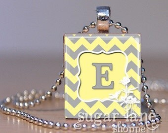Monogram Initial Necklace - (Yellow and Gray Chevron) - Your Choice of Letters - Scrabble Tile Pendant with Chain