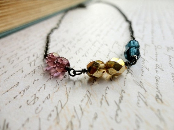 Gunmetal, violet, golden, and stormy blue wire wrapped czech beaded necklace, Moments In Time