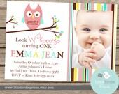 OWL INVITATION PRINTABLE - Girl Birthday Party - Owl Baby Shower Option Printable File with Photograph Pink