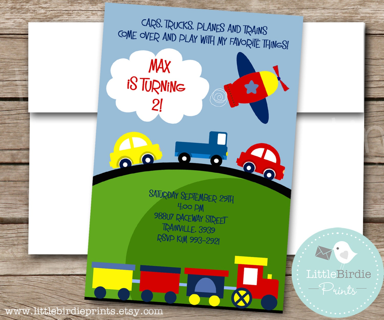 Airplane Birthday Invitation Diy Printable By Vindee On Etsy: TRANSPORTATION Birthday Invitation By Littlebirdieprints