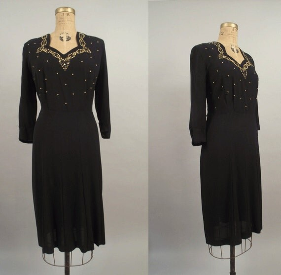 1940s Rayon Dress / 40s Studded Cocktail Dress