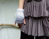 Frost Cuffs, hand knitted in graduated gray mohair wool, READY TO SHIP