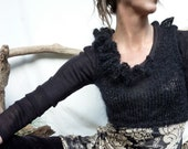 Ruffle Bodice, hand knitted crop top in black luxury mohair, READY TO SHIP