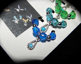 TURQUOISE DROP Wine Glass Charms Set of 6