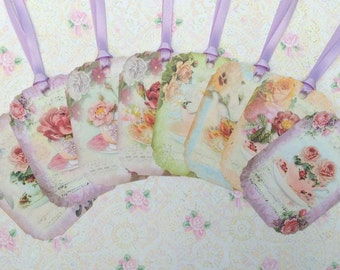 Floral Tea Cups Gift Tags set of 8 #426