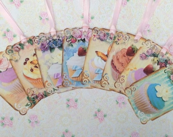 Elegant Cup Cakes Gift Tags set of 8 No.425