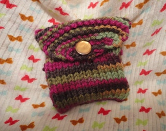 Hand Knit Mini Coin Purse Colorful 100% Turkish Wool