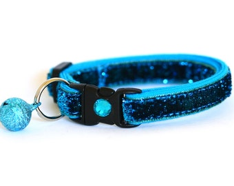 Glitter Cat Collar - Deep Blue Sea - Kitten / Small Cat Size or Large Size
