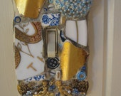 Mosaic Single Switch Plate Switchplate in Blue and Gold mosaic art