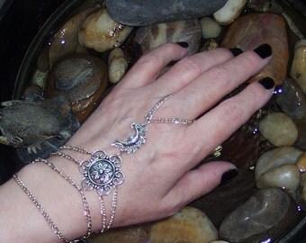 Silver moon and flower slave bracelet