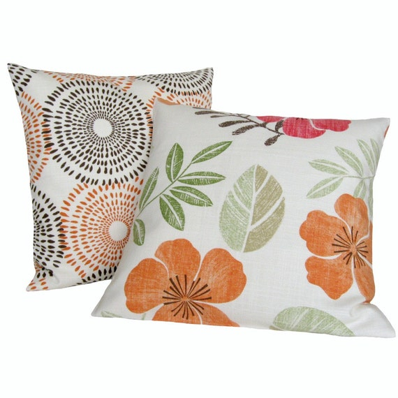 Decorative Pillow Cover Dusk Orange Cushion Cover Accent Pillow 16 x 16 inches - Tropical garden spice