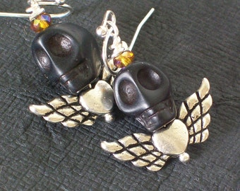 Black Zombie Skull earrings