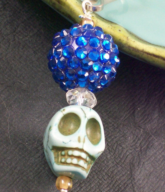 Rockabilly Sugar Skull Zipper Pull Charm