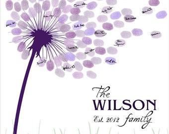 Wedding GuestBook, Family Tree, Fingerprint Guest book, Dandelion Fingerprint Signature Anniversary, Purple Wedding - DIGITAL PRINTABLE JPEG