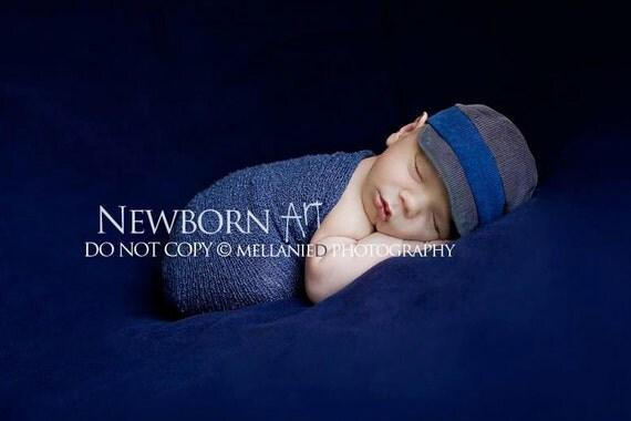 newborn BOY fabric oxford HAT - photography prop - dark blue, slate gray, corduroy