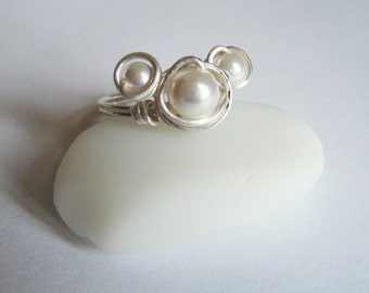 Disney Themed Wire Wrapped Ring - Sterling Silver - With Swarovski Pearl Mickey Face - Choose Your Color