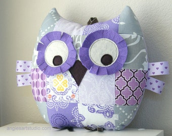 Owl PIlliw, Patchwork Owl, Stuffed Animal, Owl Plush Toy, Purple and Gray