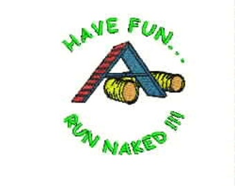 Dog Agility Short Sleeve Tee Shirt - Have Fun Run Naked Logo with A-Frame and Tunnel