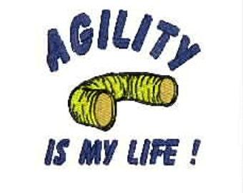 Dog Agility Tee Shirt - Agility Is My Life with Tunnel