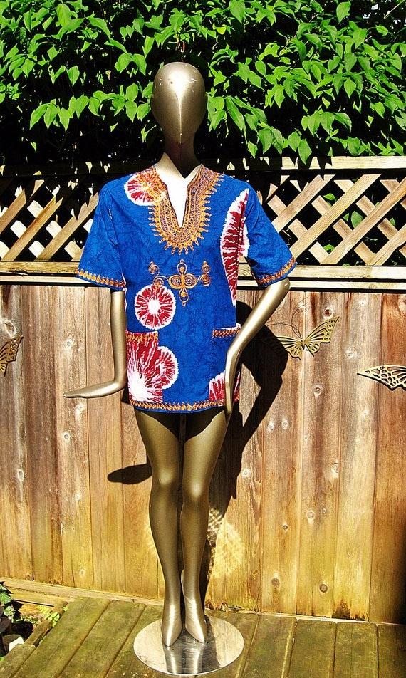 On SALE Vintage Ethnic TiE DyE Embroidered DASHIKI Hippie Top  M L