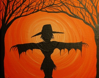 The Scarecrow No2 -  10  x  8 , acrylic on canvas, ready to hang, ORIGINAL by Michael H. Prosper