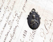 Antique french medal - oval religious brass charm - embossed on both sides