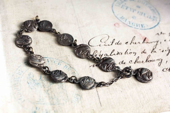 Antique french rosary bracelet - religious rose and Mary connectors - silver tone