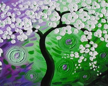 ORIGINAL Oil Painting The Night of Wishing 45 x 23 Palette Knife Colorful Textured Abstract Tree White Green Purple ART by Marchella