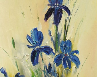 ORIGINAL Oil Painting made to order on canvas Palette Knife Colorful Flowers Blue Iris gift impasto texture 3d ready to hang ART Marchella