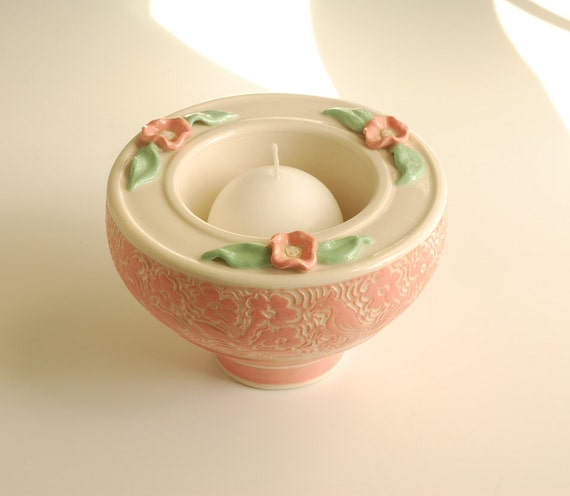 Candle Bowl in Peach and White with Peachy Pink Flower Applique