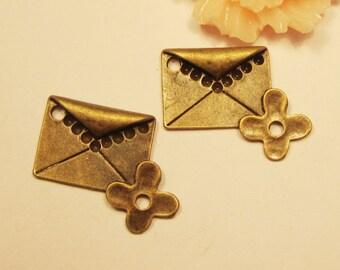 9pcs antique bronze envelope with flower charm pendants--25x20mm