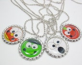 Halloween Favor, Set of 4 Bottle Cap Necklaces, Gift, Favor, Party, Ghost, Candy Corn, Monster, Pumpkin, Girls & Boys, Ready to Ship