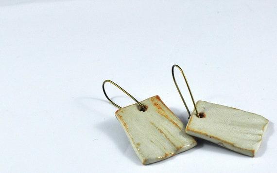 Cream Ceramic Square Earrings on Bronze Kidney Ear Wires in Handmade Felt Jewelry Pouch