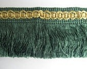 VINTAGE IMPORTED chainette fringe teal green with gold header 3 inch
