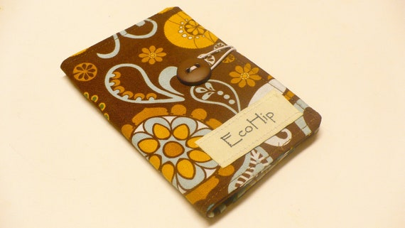 CLEARANCE Tea Bag Wallet Holder - Riley Blake So Sophie Allover Floral Brown - Ready to Ship