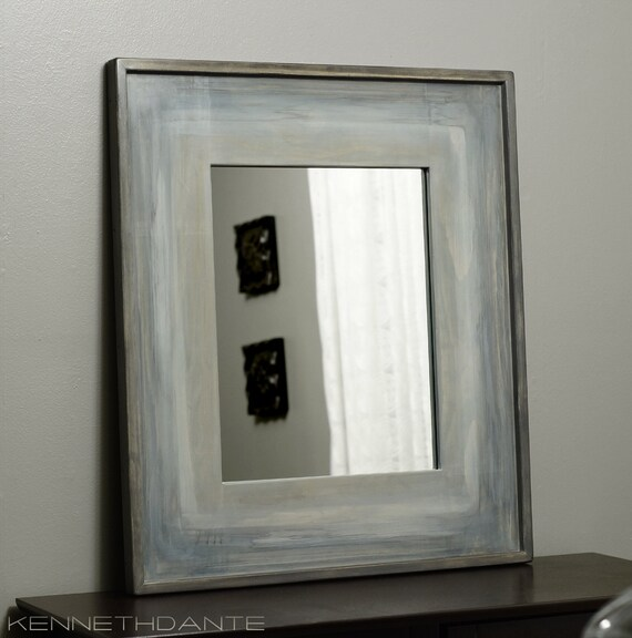 Weathered Wood Framed Mirror Painted Frame Unique Streaky Finish