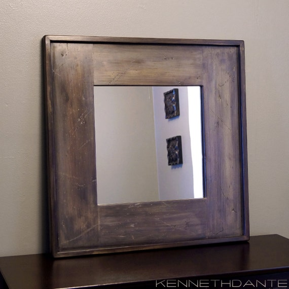 Distressed Wood Mirror Square Modern Rustic by KennethDante