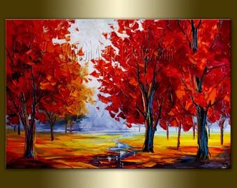 CUSTOM Original Landscape Painting Oil on Canvas Textured Palette Knife Modern Tree Art Seasons by Willson