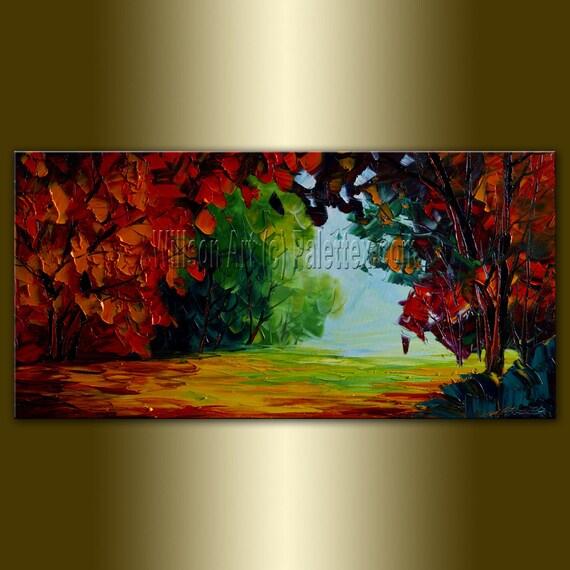 Original Landscape Painting Oil on Canvas Textured Palette Knife Modern Tree Art Seasons 15X30