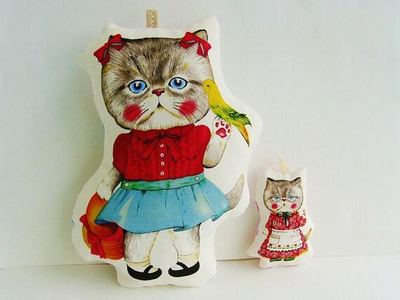 SALE 20% Set of 2 cat pillows,House pillows,linen fabric toys, Children's bedroom decor