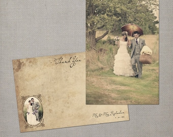 "Wedding Thank You Cards / Thank You Note Cards / Vintage cards / thank you card / Vintage Wedding Thank You Cards - the ""Romina"""